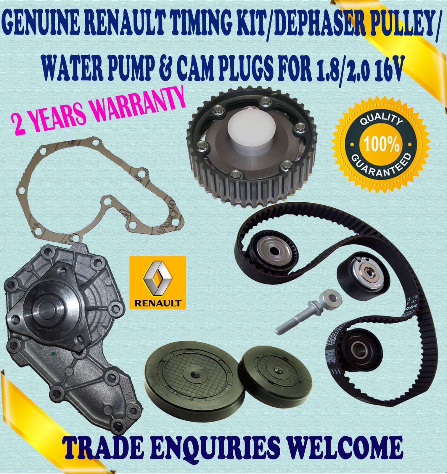 For Renault Clio Ii Sport 172 182 20 Timing Belt Kit Dephaser 2000 Saab Pulley Water Pump