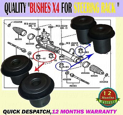 For Toyota Avensis Verso Picnic Ipsum 01-09 Power Steering Gear Rack Bush Bushes X4